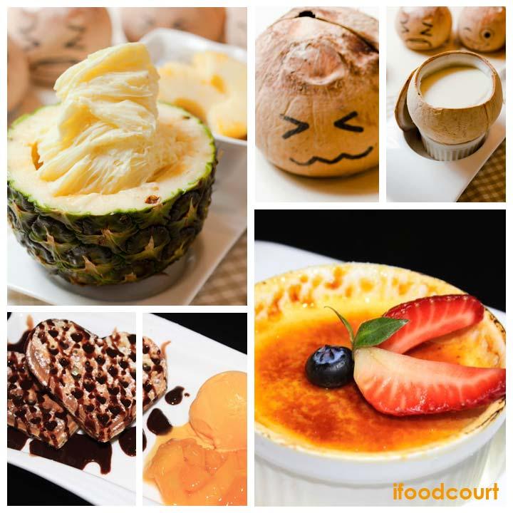 菠多野結冰; 椰皇燉蛋白; 法式焦糖燉蛋; 朱古力窩夫伴雪糕