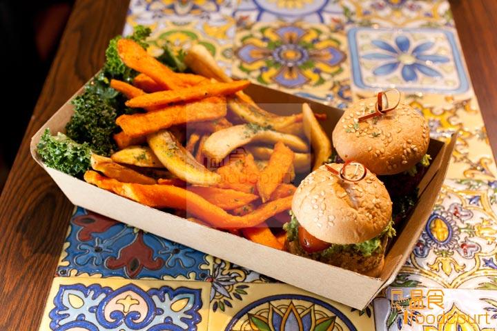迷你漢堡配薯條