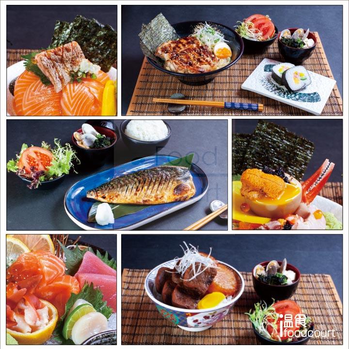 content-6:雙重三文魚丼 、汁燒雞扒拉麵、燒鯖魚定食、空運雜錦丼、刺身、秘製牛舌丼